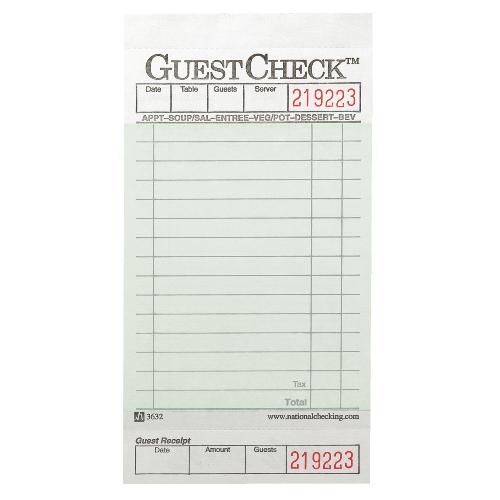 National Guestchecks Restaurant Guest Check Pads Sku Ntc525