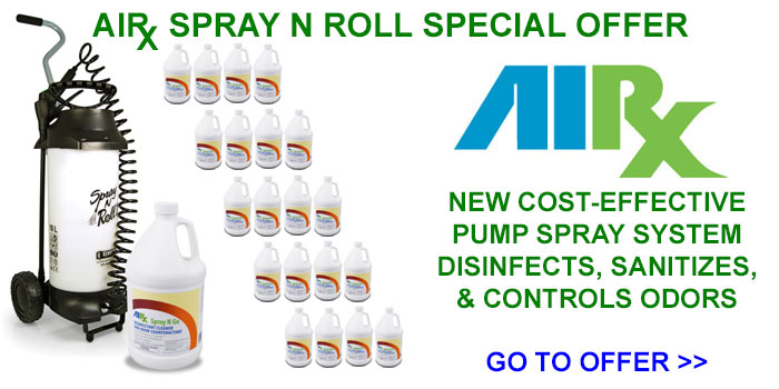 AIRX Spray N Roll w Spray N Go Disinfectant, Sanitizer, Stain, & Odor Remover System Special Offer