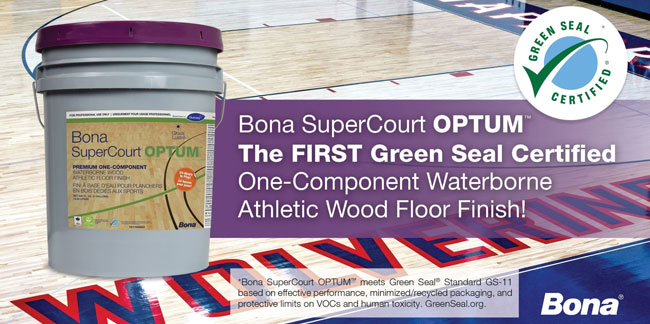 Bona SuperCourt Optum Gym Floor Finish Is Green Seal Certified