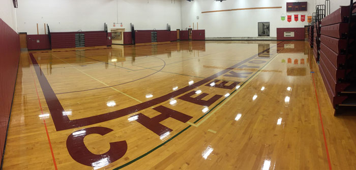 Refinished Cheektowaga High School Gym Floor, NY