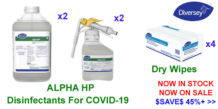 Diversey Virex Tb & Alpha-HP Disinfectants For COVID-19 & Dry Wipes Now On Sale - $SAVE$ 45%