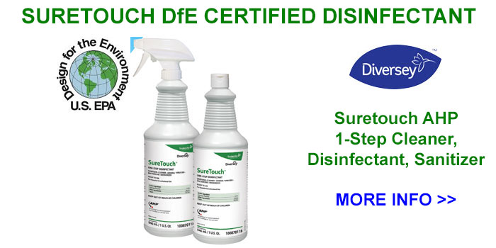 Diversey Suretouch 1-Step DfE-Certified AHP Disinfectant Cleaner SKU#Diversey-100870118