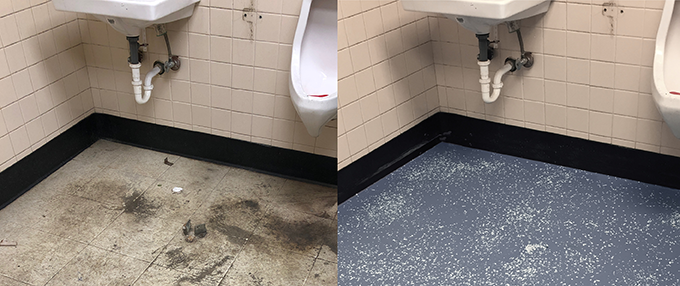 Renovated Resilient Tile Floor In Restroom