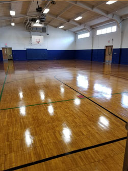 Refinished Rush Henrietta High School Gym Floor, NY