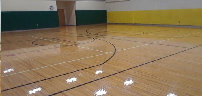 Refinished Rush Henrietta Middle School Gym Floor, NY