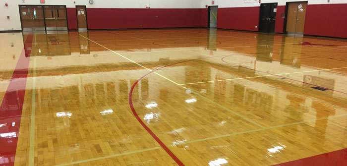 Refinished Holley School Gym Floor, NY
