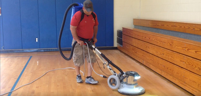 Abrading The Gym Floor, Charlotte Sidway School, Grand Island, NY