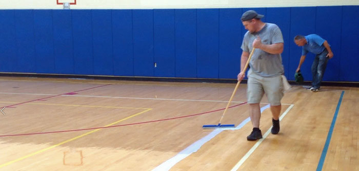 Coating The Gym Floor, Charlotte Sidway School, Grand Island, NY