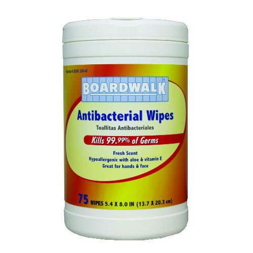 Antibacterial Hand & Face Wipes 75 Count SKU#BWK358-W, Boardwalk Antibacterial Hand & Face Wipes 75 Count SKU#BWK358-W