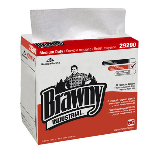 Brawny Industrial Medium Duty All Purpose Airlaid QuarterFold Wipers (Dispenser Box) SKU#GPC29290-03, Georgia Pacific Brawny Industrial Medium Duty All Purpose Airlaid QuarterFold Wipers (Dispenser Box) SKU#GPC29290-03
