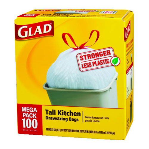 Glad Forceflex Kitchen Drawstring 13 Gallon Trash Bags SKU#CLO78374, Clorox Glad Forceflex Kitchen Drawstring 13 Gallon Trash Bags SKU#CLO78374