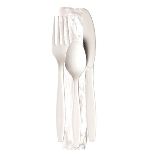 Dixie HeavyWeight Polystyrene Knife Fork Teaspoon Wrapped Cutlery Kit SKU#DIXCH26C7, Dixie HeavyWeight Polystyrene Knife Fork Teaspoon Wrapped Cutlery Kit SKU#DIXCH26C7