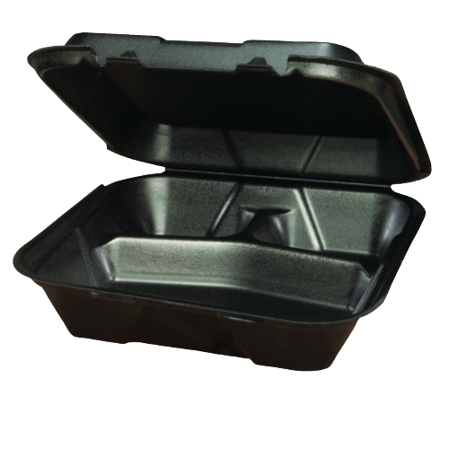 Genpak Foam Hinged Lid Carryout Container SKU#GNPSN203BK, Genpak Foam Hinged Lid Carryout Containers SKU#GNPSN203BK