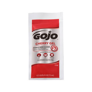 GOJO Cherry Gel Pumice Hand Cleaner Packets 50ct Carton SKU#GOJ2350-02, GOJO Cherry Gel Pumice Hand Cleaner 0.5floz Packets 50ct Folding Display Carton SKU#GOJ2350-02