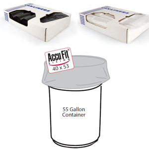 Clear 55 Gallon Super-Duty AccuFit Trash Can Liners SKU#HER H8053PC R01, Heritage Bags Clear 55 Gallon Super-Duty AccuFit Trash Can Liners SKU#HERH8053PC R01