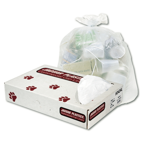 Jaguar HD Commercial Can Liner Bulk Flat Pack Natural SKU#JAGH334012, Jaguar HD Commercial Can Liners Bulk Flat Pack Natural Color SKU#JAGH334012