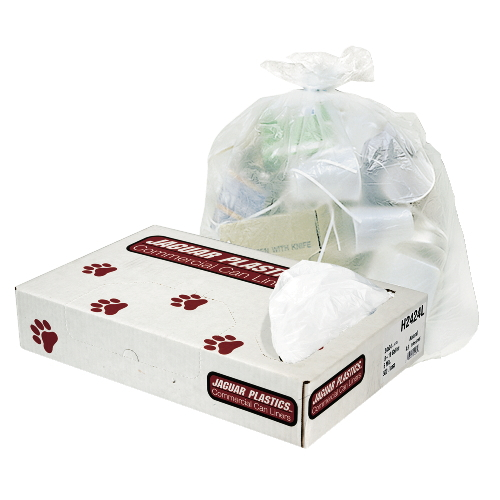 Jaguar HD Commercial Can Liner Bulk Flat Pack Natural SKU#JAGH3860S, Jaguar HD Commercial Can Liners Bulk Flat Pack Natural Color SKU#JAGH3860S