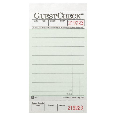 National GuestChecks Restaurant Guest Check Pad SKU#NTCA3632, National GuestChecks Restaurant Guest Check Pads SKU#NTCA3632