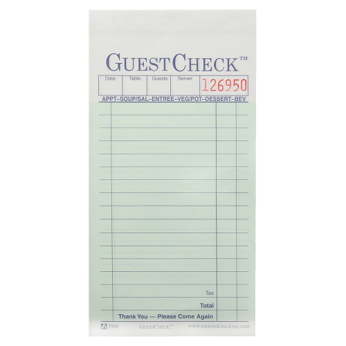 National GuestChecks Restaurant Guest Check Pad SKU#NTCA7000, National GuestChecks Restaurant Guest Check Pads SKU#NTCA7000