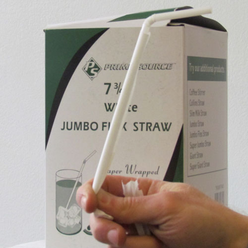 Prime Source Wrapped White Jumbo Flex Drinking Straws 7.75in SKU#PS76009704, Prime Source Wrapped White Jumbo Flex Drinking Straws 7.75in SKU#PS76009704