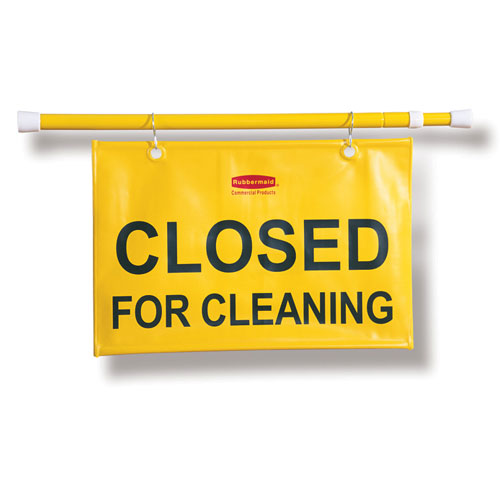 Rubbermaid Commercial Site Safety Hanging Signs w Closed for Cleaning Imprint SKU#RCP9S15, Rubbermaid Commercial Site Safety Hanging Sign with Closed for Cleaning Imprint English Only SKU#RCP9S15