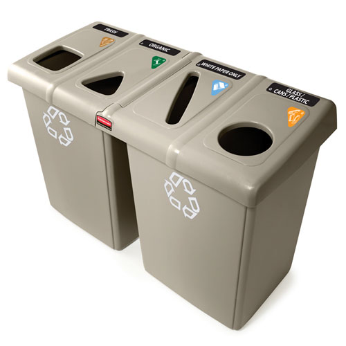 Rubbermaid Commercial Glutton Recycling Stations SKU#RCP256R-06BEIG, Rubbermaid Commercial Glutton Recycling Station SKU#RCP256R-06BEIG