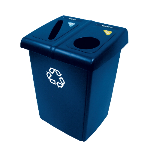 Rubbermaid Glutton 2-Stream Recycling Stations SKU#RCP256T-73BLU, Rubbermaid Glutton 2-Stream Recycling Station SKU#RCP256T-73BLU