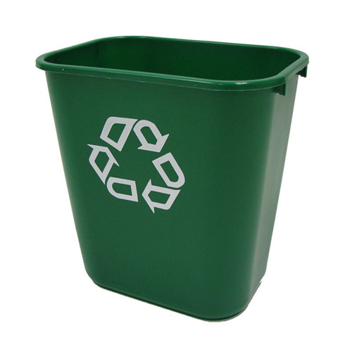 Rubbermaid Commercial Deskside Recycling Containers Medium w Universal Recycle Symbol SKU#RCP2956-06, Rubbermaid Commercial Deskside Recycling Container Medium with Universal Recycle Symbol SKU#RCP2956-06