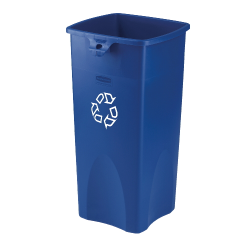 Rubbermaid Untouchable 23 Gal Square Recycling Container SKU#RCP3569-73BLU, Rubbermaid Untouchable 23 Gallon Square Recycling Containers SKU#RCP3569-73BLU