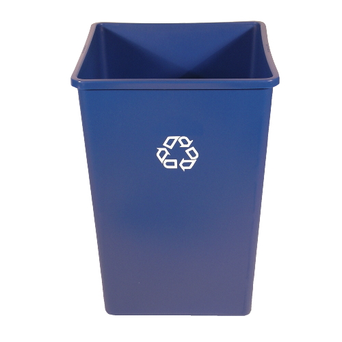 Rubbermaid Untouchable 35 Gal Square Recycling Container SKU#RCP3958-73BLU, Rubbermaid Untouchable 35 Gallon Square Recycling Containers SKU#RCP3958-73BLU