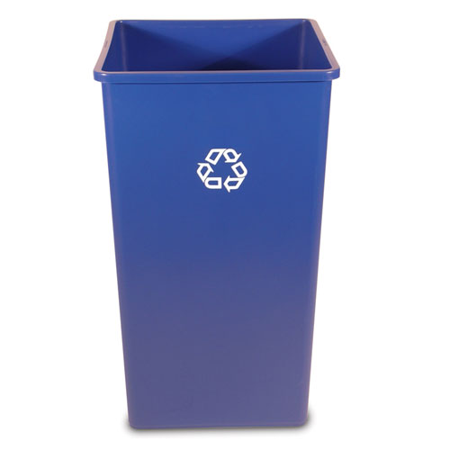 Rubbermaid Untouchable 50 Gal Square Recycling Container SKU#RCP3959-73BLU, Rubbermaid Untouchable 50 Gallon Square Recycling Containers SKU#RCP3959-73BLU