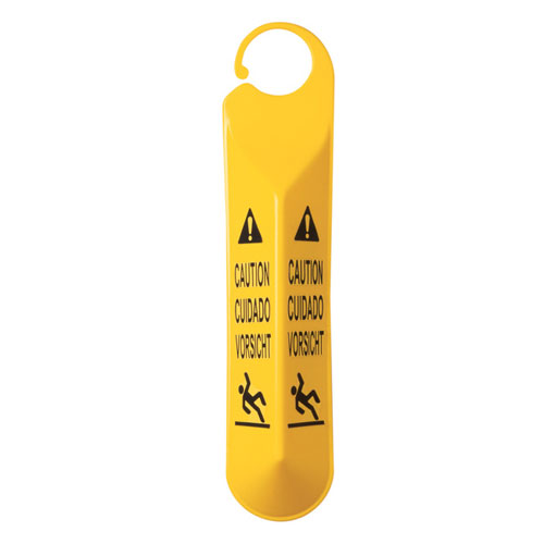Rubbermaid Commercial Hanging Safety Signs w Multi Lingual Caution Imprint & Falling Person Symbol SKU#RCP6110, Rubbermaid Commercial Hanging Safety Sign with Multi Lingual Caution Imprint & Falling Person Symbol SKU#RCP6110