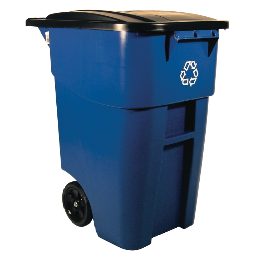 Rubbermaid 50 Gal Brute Recycling Rollout Container SKU#RCP9W27-73BLU, Rubbermaid 50 Gallon Brute Recycling Rollout Container SKU#RCP9W27-73BLU